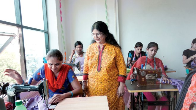 Meera Panjwani oversees progress made at the women's empowerment centre in Ankleshwar.