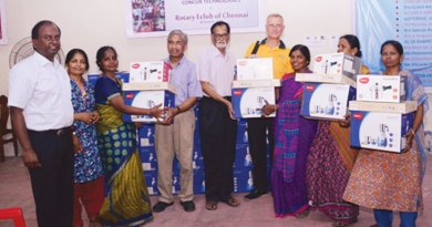 Rehabilitation kits being given to flood-affected families.