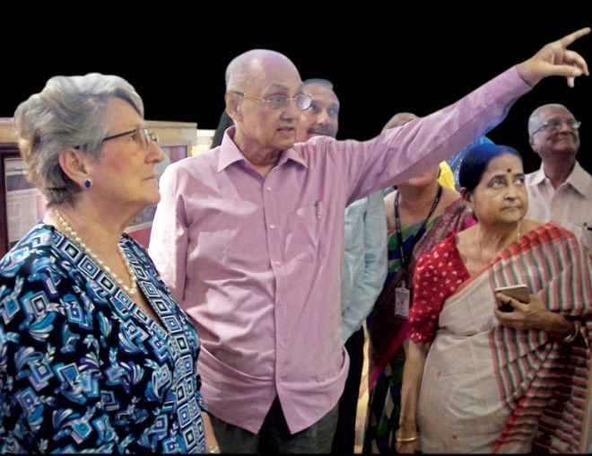 PRIP Kalyan Banerjee and Sandra Shroff examine a project in Vapi. Also seen is Binota Banerjee.