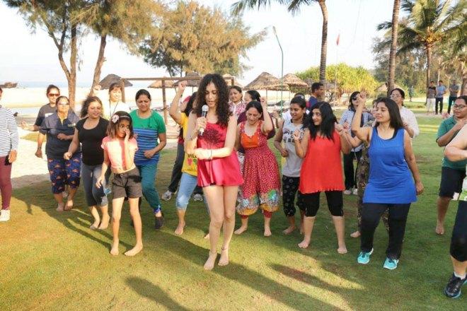 Morning aerobics on the beach with Zumba Dance led by ROTEX Dina Ginwalla.