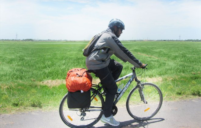 Rotaractor Roshan Naveen on cycle expedition.