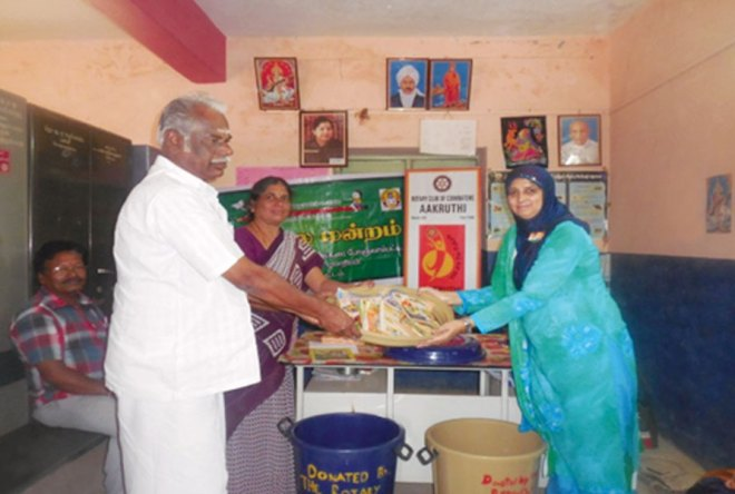 RC Coimbatore Aakruthi RI District 3201 <br/> Sanitation kits, stationery items and story books provided to three schools in the region to promote Rotary's TEACH mission.