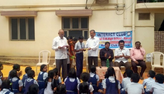 RC Kavali RI District 3160 <br/> Elocution competition conducted for students of Gitanjali English Medium School, to encourage their latent skills.