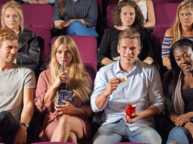 Shhh! 'Silent snacks' in theatres Taking civility in cinema viewing to another level, Teatime Productions has trialled in two theatres in London 'silent snacks' to combat noisy crunching and chomping. Moviegoers can choose between quiet popcorns containing ground popcorn, cocoa butter and dates, muffled truffles or dehydrated pear slices, and wash it all down with lime and mint non-carbonated drinks served in rubber glasses to make it as quiet as possible, provided one does not slurp! The snacks come in fabric bags to eliminate the rustling noise. The idea has received plenty of positive support.
