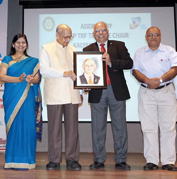 From left: DGN Pinky Patel, TRF Trustee Chair Kalyan Banerjee, RI Director Manoj Desai, PDG Jatin Bhatt.