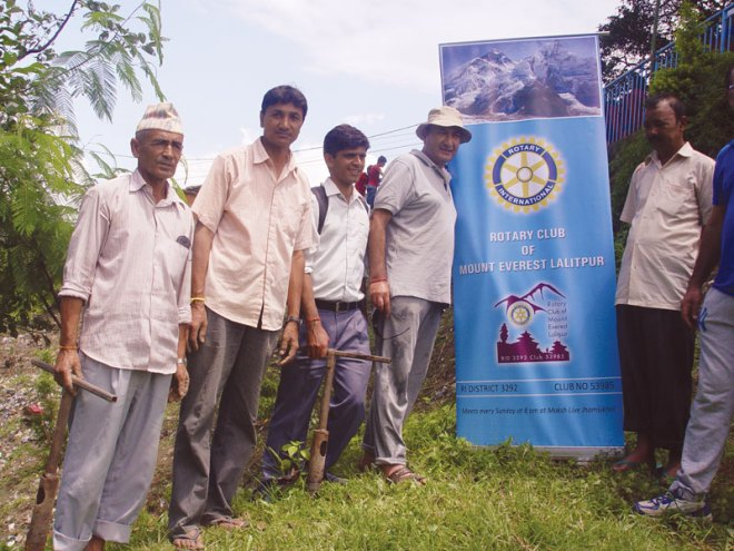 RC Mount Everest Lalitpur RI District 3292 Under the banner 'Preserve Planet Earth' saplings were planted at Damai Tar Ganesh Sthan, Nepal.