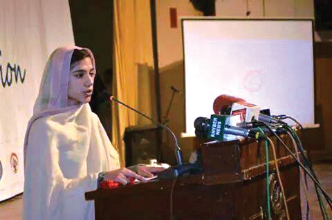 Gulalai delivers a speech on Malala Day in Swat Valley.