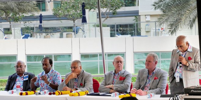 From left: RIDE C Basker, V Raja Seenivasan, RID Manoj Desai, RI President John Germ, PRID Ronald Beaubien and PDG J B Kamdar.