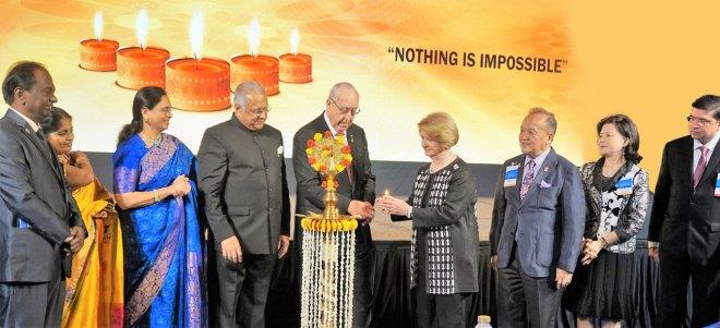RI President John F Germ and Judy inaugurate the DDZI in the presence of (from left) Institute Chair V Raja Seenivasan, Jayanthi, Sharmishtha, RID Manoj Desai, PRIP Gary Huang, Corinna, and Organising Secretary Abhay Gadgil.