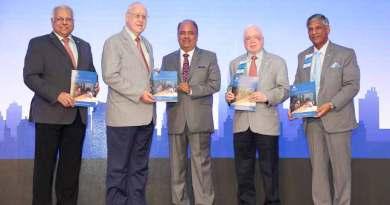 From left: RID Manoj Desai, RI President John Germ, RILM Chair Shekhar Mehta, WinS Global Chair Sushil Gupta and PRID Y P Das releasing the RILM's Annual Report at the DDZI.