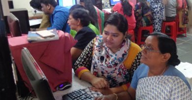 A computer course in progress at the centre established by the club.