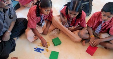 No more math-phobia for these children who experiment arithmetical operations with the Akshara Math programme.