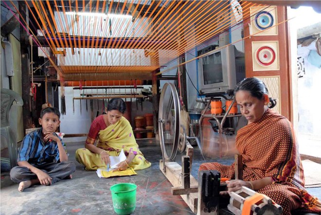 A handloom weaver at work in Kancheepuram.