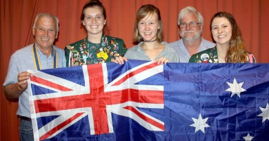 Rotary Club of Manjimup President Alex Alban, Emily Barton, Sarah Busch, youth exchange coordinater Harry Hercock and Jordan Turner celebrate the clubs successful youth exchange programme.