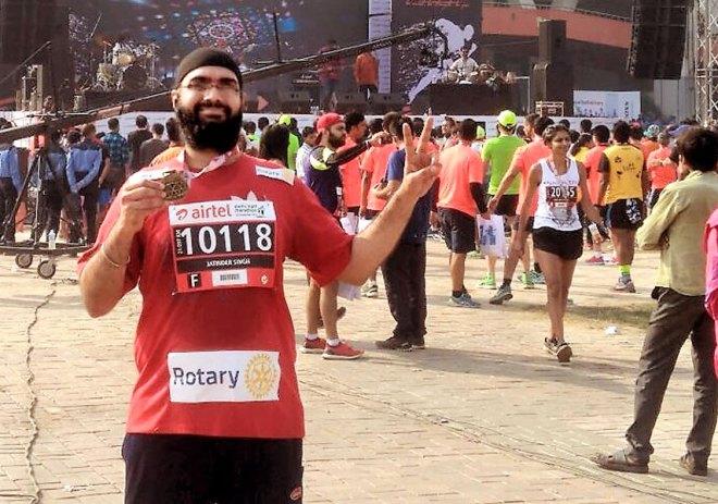 Jatinder Singh, Head - Club and District Support, after completing the Delhi Half Marathon.