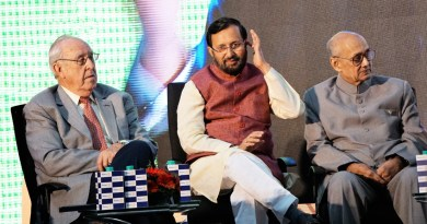 (From left) RI President John Germ, HRD Minister Prakash Javadekar and TRF Trustee Chair Kalyan Banerjee.