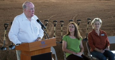Williamson County Commissioner Ron Morrison (left) speaks during the Williamson County Expo Center groundbreaking ceremony in September 2015. Morrison died in September 2016.