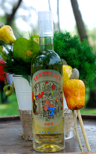 Iconic cartoonist Mario Miranda drew the sketch for the Lembranca feni bottle — this is the only one he did for a feni bottle.