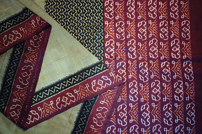 An Ikkat silk sari from Puttapakka.