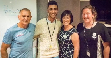 "From left: Scott Worthington, of Alexandra, Sakhr Munassar, of Dunedin, Alexandra Rotary Club president Carolyn Martin and Emily Wilson, of Wanaka, after Scott shared his advice on ""self-reliance and embracing fear"" at the Rotary Young Leaders Awards in Alexandra."