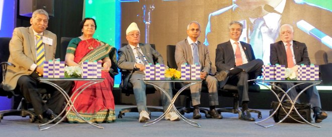 From Left: PDG Salim Reza, International Inner Wheel President Elect Dr Kapila Gupta, Nepal Education Secretary Shanta Kumar Shrestha, Former Bangladesh Education Secretary Nazrul Islam Khan, PDG Aziz Memon, Pakistan and PRID Sushil Gupta.