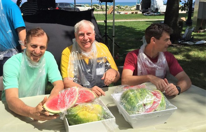 At a watermelon eating competition organised by the RI staff in Evanston, along with RI General Secretary John Hewko (Left).