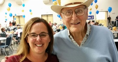 Cleburne Rotary Club President Renee Brockett (left) with fellow Rotarian Lowell 'Stretch' Smith at the fish fry in 2016.