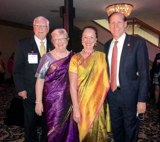With spouse Juliet, Margaret Hewko and RI General Secretary John Hewko at the Rotary Institute in Cleveland in 2016.