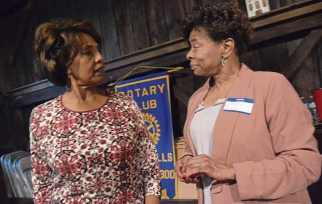 Betty Wade, Rotary secretary, and Pat Ellis of State Farm at a Rotary meet at The Barn. Photo: Lillian Dedomenic