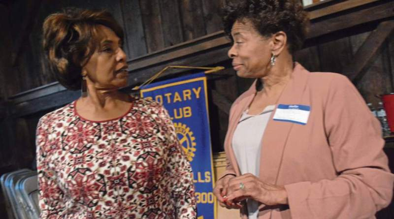 Betty Wade, Rotary secretary, and Pat Ellis of State Farm at a Rotary meet at The Barn. Photo: Lillian Dedomenic