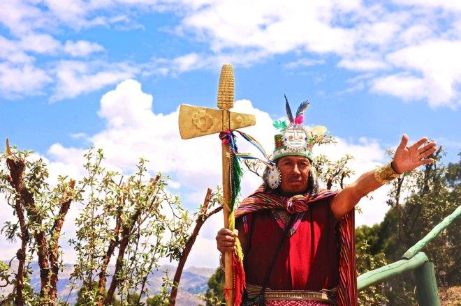 A Quechua man dressed as a tribal chief.