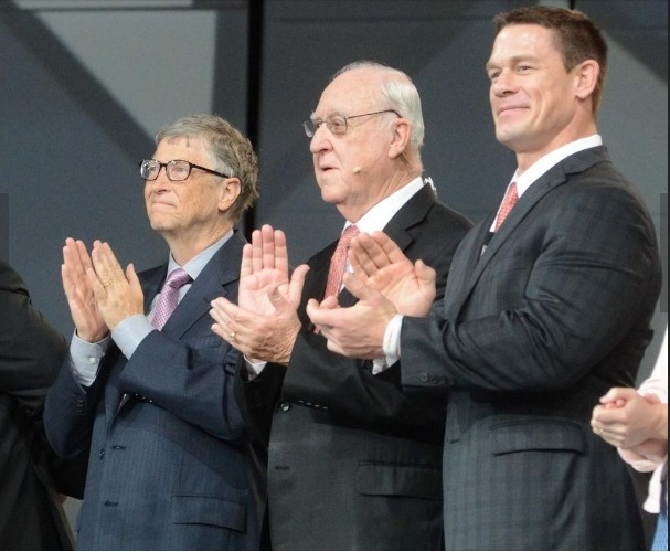 Philanthrophist Bill Gates, from left, Rotary International President John Germ, and wrestler and actor John Cena on stage at the Rotary International Convention in Atlanta on June 12. Photo: Maria Saporta