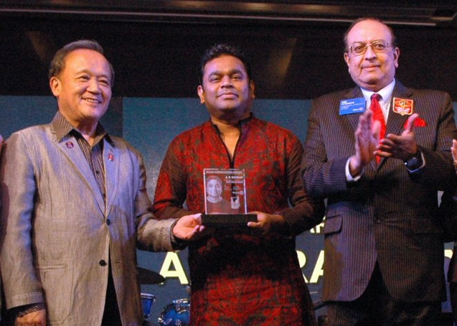 Music legend A R Rahman being honoured at the Institute.