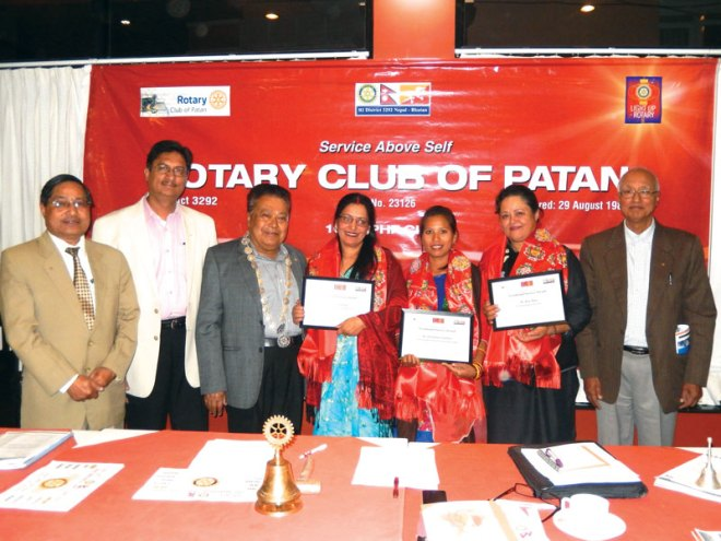 Vocational Service Awards were presented by RC Patan, RI District 3292, to Rita Thapa, founder of TEWA, Nepal which works for women empowerment, Dil Kumari Chaudhary for her ­untiring work for the welfare of Kamlari girls and Gita Banjara for her humanitarian services to mentally-challenged patients.