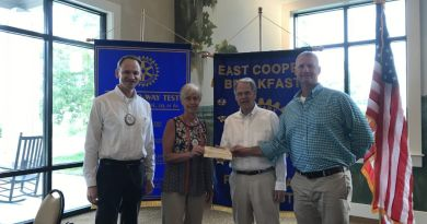 East Cooper Breakfast Rotary Club President Michael Bloser and Chair of Global Grants Committee Mary English presented a cheque for $5,000 to Lem Walker and Mark Baker of Water Missions International.