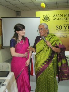 Fulbright-Nehru Scholar Sarah Farnand and Rtn Vasanthi Ranganathan (right).