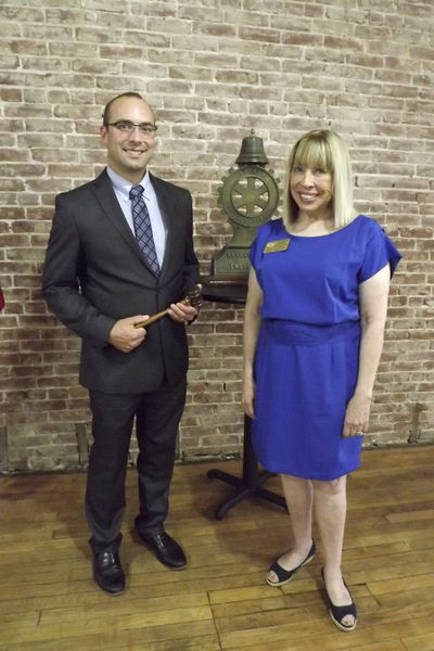 Judith Hughes (right) installed the new president of the Grove City Rotary Club, Greg Liszka (left), during the group's meeting at Sweet Jeanie's. Hughes is the new district governor for RI District 7280 which includes 43 clubs. Photo: Monica Pryts