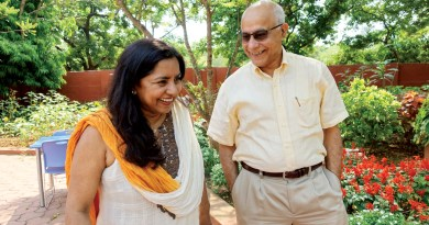 Subroto and Susmita Bagchi at their lovingly nurtured garden at home in Bhubaneswar.