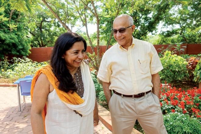 Subroto and Susmita Bagchi at their lovingly nurtured garden at home in Bhubaneswar.