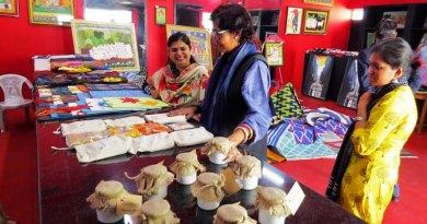 Bangladeshi fashion designer Bibi Russell (centre) at the Jail Shop in Jaipur.