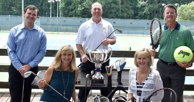 In the bottom row, from left are Lisa Carlisle, president of Roswell Rotary, and Mindy Jones, co-chair of the tennis tournament. In the back row, from left, are golf tournament co-chairs Michael Agurkis and Danny Broadway, and Rich Austin, co-chair of the tennis tournament. Photo: Roswell Rotary