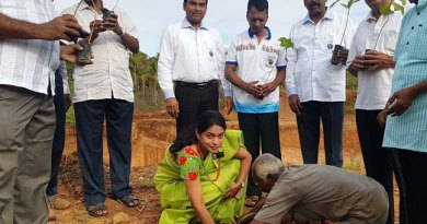 DG P Gopalakrishnan (extreme left) and First Lady G Neelavathi plant saplings.