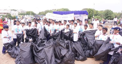 School children with their garbage collection.