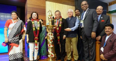 PRIP Gary Huang and Corinna inaugurate the Conclave in the presence of TRF Trustee Sushil Gupta, DG R Srinivasan, PDG ISAK Nazar, PRID P T Prabhakar and Afzalunisa Nazar (extreme left).