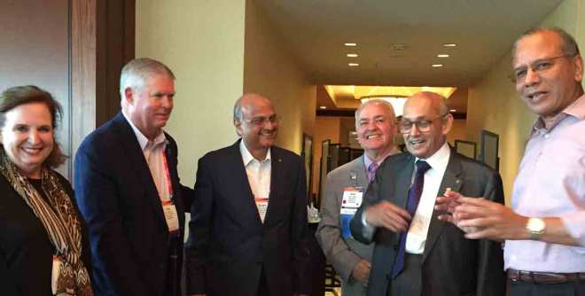 From R: PRIP K R Ravindran, PRIP Kalyan Banerjee, TRF Trustee Noel A Bajat, PDG Gulam A Vahanvaty, Fred Mccallum and Susan Jackson.