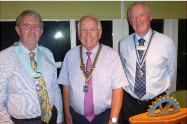 From left, District Governor James Onions, Littlehampton Rotary Club President Keith Green and Secretary Mick Young.