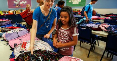 Rachel Preston helps Jailey Henson, 10, pick out a brand new backpack for school at the Everett Boys & Girls Club. Preston recently joined a new Rotaract club for young people wanting to get involved and help out in the community. Photo: Dan Bates / The Herald