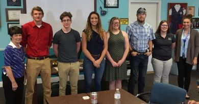 Williamsburg Rotary President Pat Louiso, left, with Williamsburg High School scholarship winners Coby Hamilton, Spencer Clark, Emily McKibben, Abigail Bowling, Kyle Kuhn and Samantha Jones, and counsellor Morgan Capucini. Photo: Submitted