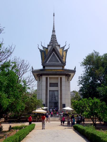 Memorial Stupa at the Choeung Ek Killing Fields.