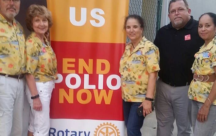 Lake Spivey/Clayton County Rotary Club members promote the 'End Polio Now' campaign at a recent sip and Sounds concert series event. From Left: Tom and Claudia Mertl, Lata Chinnan, Troy Hodges and Judith Bennett.